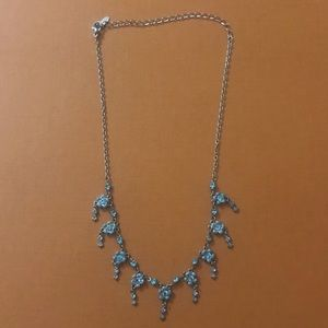 Blue Flower Rhinestone Necklace